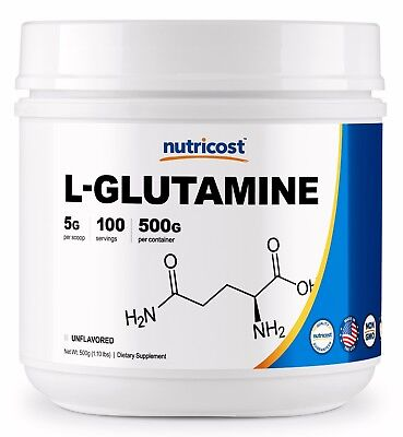 Pure L-Glutamine 500G by Nutricost - 5000mg per Serv, 100 Serv - Enhance Muscles