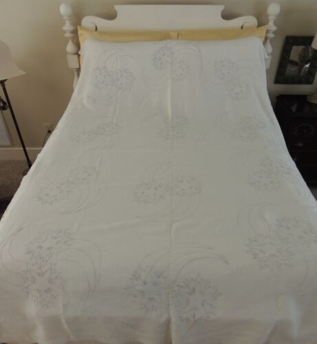 "Antique Heavy White LINEN Tablecloth or Bed Coverlet 60 by 92"" Blue Embroidery"