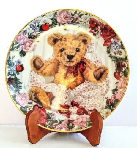 """Franklin Mint Heirloom Collection 8"""" Plate """"VALENTINE FOR TEDDYT"""" New"""