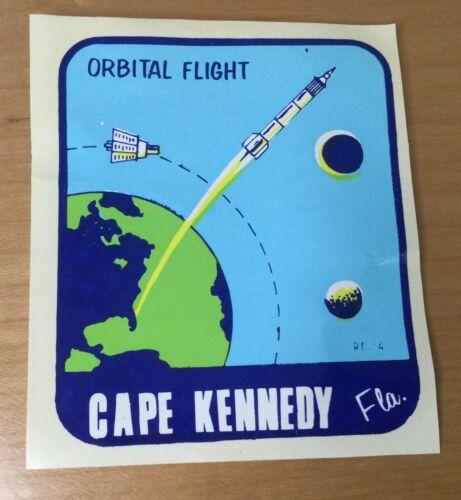 "Vtg Travel Decal Water Transfer Tourist Souvenir Cape Kennedy ""Orbital Flight"""