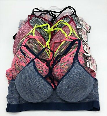Lot 3 6 Wire Free Light Pad Cross String Cotton Sports Bra 32B 34B 36B 38B