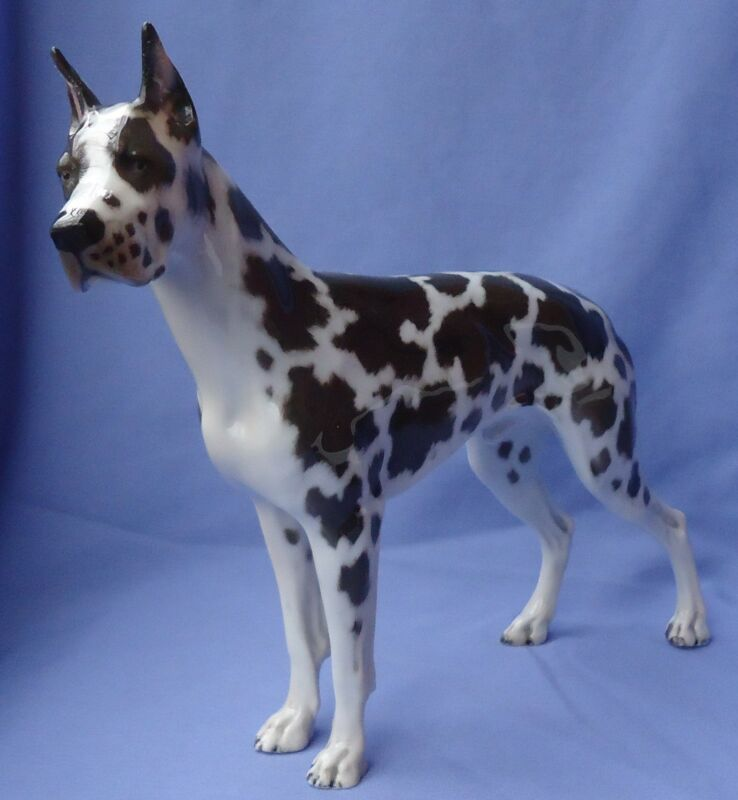 1930  HARLEQUIN GREAT DANE ROSENTHAL GERMANY DOG 12""