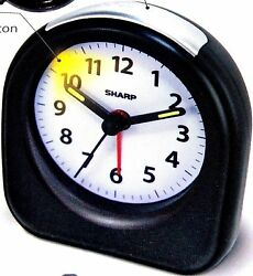 Sharp Mini Alarm Clock Battery Power Ascending Alarm Back Light On Demand Travel