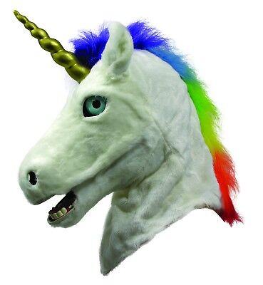 Life Like Masks Halloween (Unicorn Mask Deluxe White Faux Fur Moving Mouth Life Like Fantasy Animal Mask )