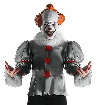 Pennywise It Movie Scary Clown Fancy Dress Up Halloween Deluxe Adult Costume