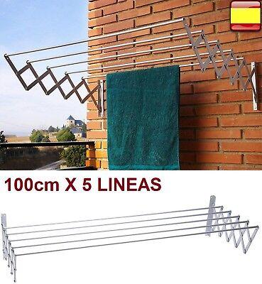 Tendedero extensible plegable metalico de pared en aluminio 100cm