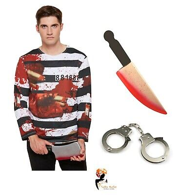 Men's ZOMBIE CONVICT PRISONER Halloween Fancy Dress COSTUME Adult Horror Outfit