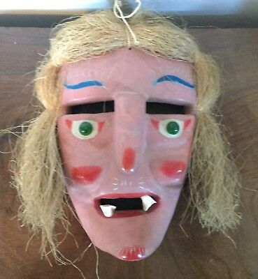 Old Mexican Folk Art Carved Wood Mask Witch Day of the Dead Real Teeth