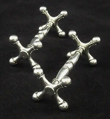 PAIR VICTORIAN M.P.A SILVER PLATED KNIFE CUTLERY RESTS CROSS END BALL FEET SET 1