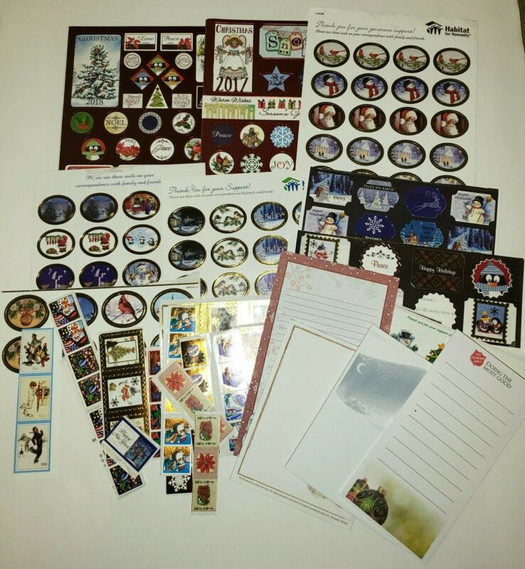 Lot of 230+ Christmas Holiday Sticker and 4 Used Note Pads