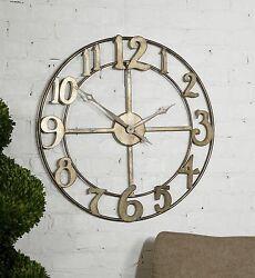 Open Bronze Contemporary Wall Clock | Round Metal