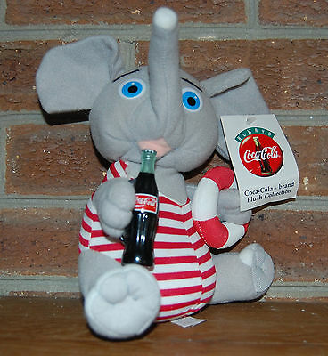 1993 Coca-Cola Plush Elephant Play by Play with Coke and Swim Ring Red White