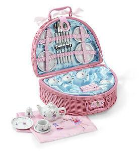 Fairy Tale Kids Girls PICNIC BASKET SET -32 Piece China Tea Set Toy -Lucy Locket