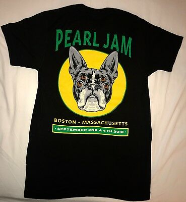 Pearl Jam boston t shirt fenway park medium 2018 pj tour terrier dog new
