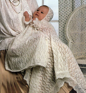 BABY-KNITTING-PATTERN-8109-BABYS-LACY-CHRISTENING-DRESS-BONNET-SHAWL