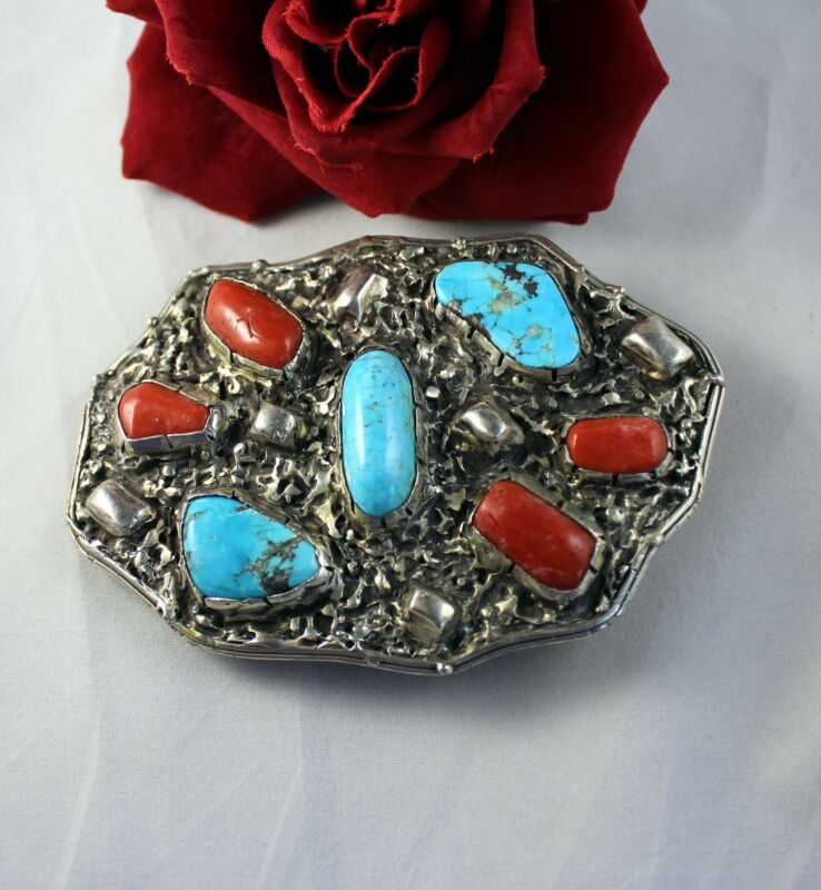 Sterling Silver Turquoise Coral 155g Wendy Dey Belt Buckle CAT RESCUE