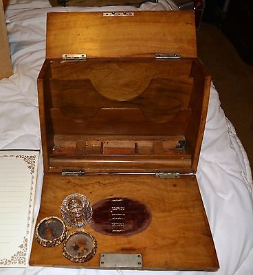 Vintage Portable  Writing Desk & Ink Wells Good for Zulu or Civil War Reenacting