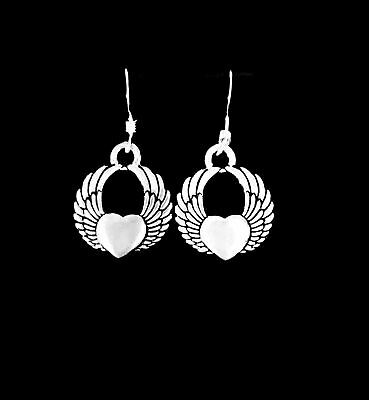 Winged Heart Angel Dangle Charm Earrings, Sterling Silver French Hook Ear Wire