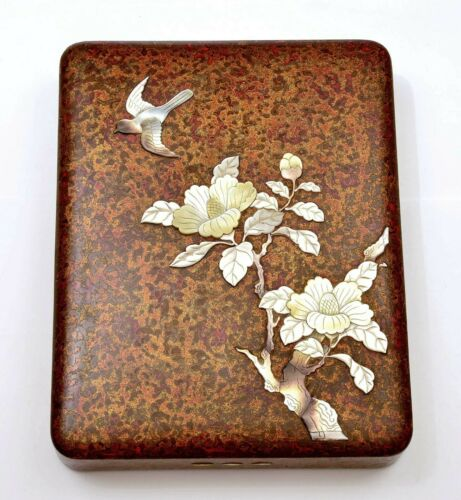 Japanese Mother Pearl Inlay Raden Wakasa Lacquer Tray Writing Box Suzuri Bako