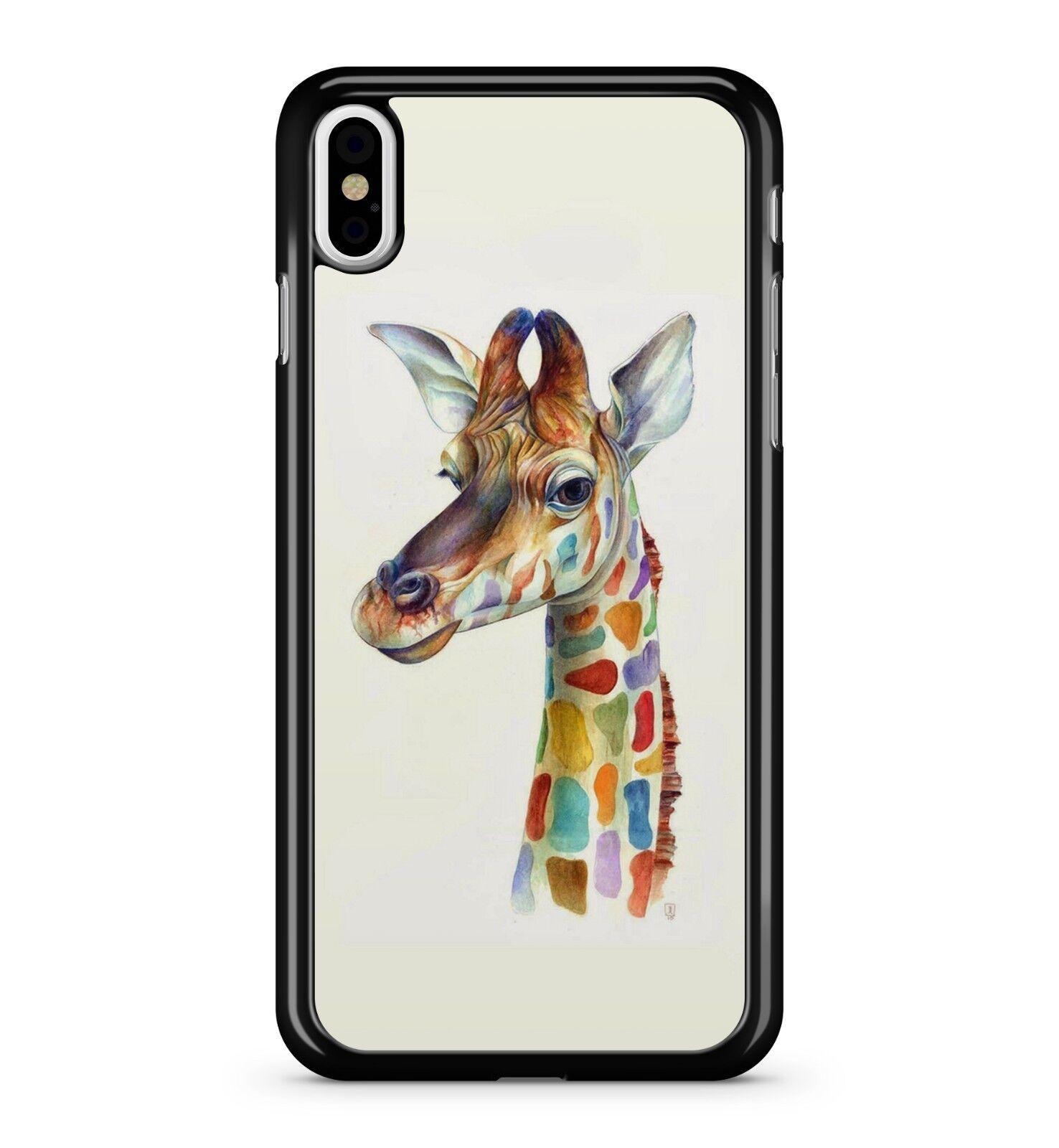 multicolor jirafa BONITO pintado DIBUJO ANIMALES ZOO 2d Funda de ...