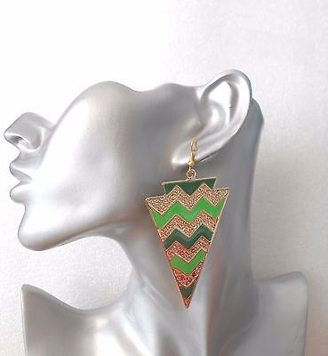 Striking Big Inverted Triangle Striped Earrings - Pierced or Clip-on - -