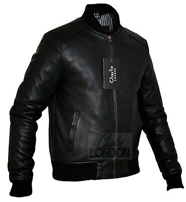 Mens Sand Style Bomber Leather Jacket - Slim Fit Leather Jackets- Charlie LONDON