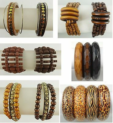 A-001 Wholesale Fashion Jewelry lot  10 PCS  Wooden Bracelets Bangles - Wooden Bangles