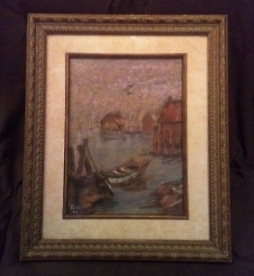 Ruth Vail Signed Boat Seascape Shore Beach Painting, Important Listed Artist
