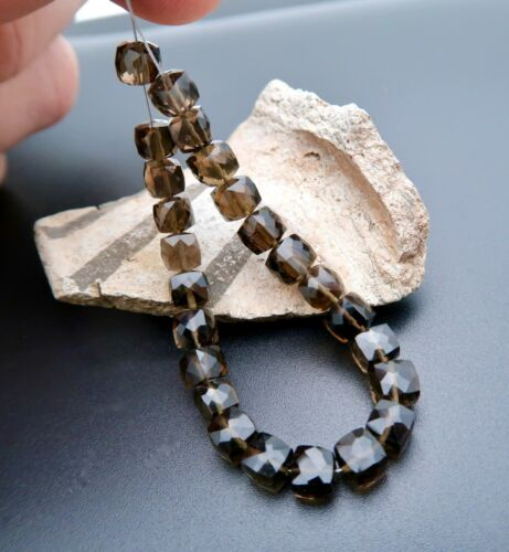 RARE AAAAA BRAZILIAN SMOKEY QUARTZ FANCY FACETED CUBE BEADS - 5.20in - 34.05cts