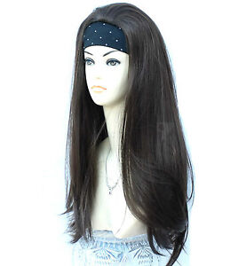 Ladies 3/4 Wig Fall Half Wig Clip In Hair Piece XXX Long Black Brown Blonde Wigs