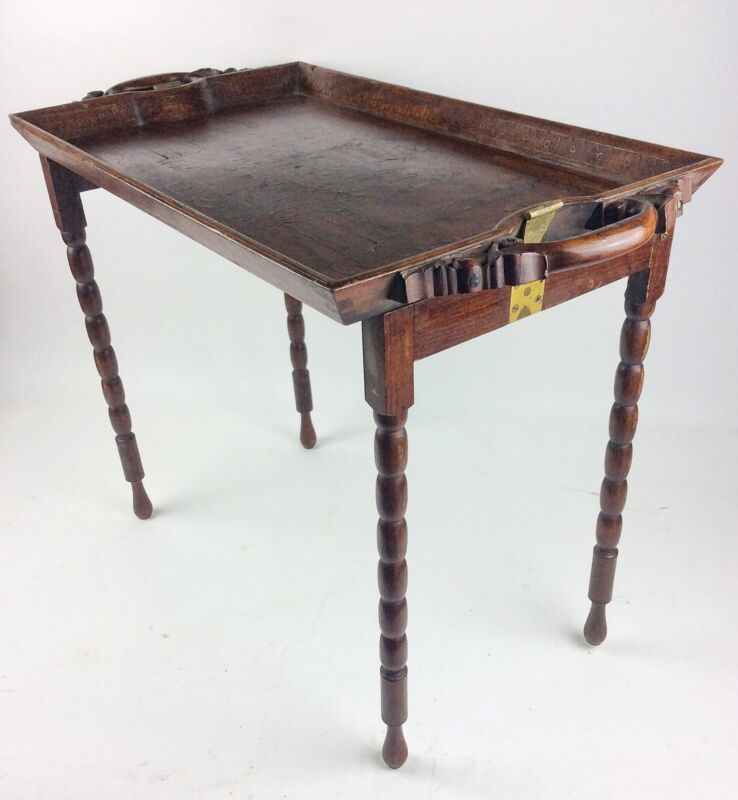Antique Anglo Indian carved wooden tray table with brass Taj Mahal inlay