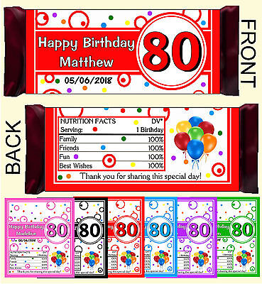 80th BIRTHDAY PARTY FAVORS CANDY BAR WRAPPERS