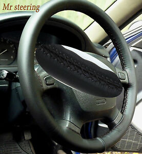 FOR-NISSAN-SKYLINE-R33-REAL-ITALIAN-BLACK-LEATHER-STEERING-WHEEL-COVER-1993-1998