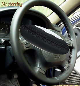 FOR NISSAN SKYLINE R33 REAL ITALIAN BLACK LEATHER STEERING WHEEL COVER 1993-1998
