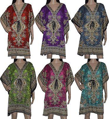 Strandtunika Strandkaftan Beachwear Kushi Strandkleid Boho Batik Ethno Sommer ()
