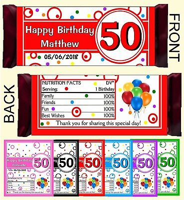 50th BIRTHDAY PARTY FAVORS CANDY BAR HERSHEY BAR WRAPPERS](Hershey Bar Wrappers)