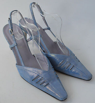 Ladies Van Dal Blue Leather Sling back Occasion Shoes Size Uk 6.5 D - Blue Occasion Shoes