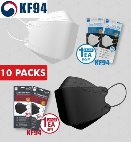 10 Pack [All Keeper KF94] Face Mask Made in Korea Medical Respirators Protective