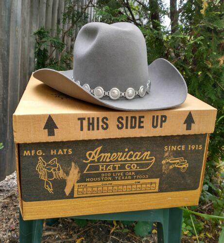 American Hat Company Cowboy Gray Maxi Wool Felt 7 5/8 with original box