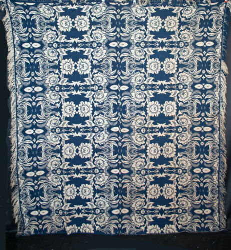 Antique Indigo Blue & White Woven Jacquard Coverlet Double Weave Center Seam