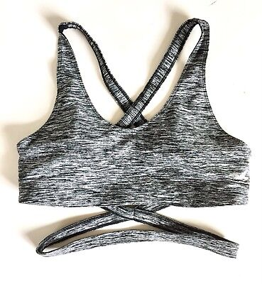 Hollister Criss Cross Strappy Wrap Around Workout Sports Bra Gray Sz Medium New - Criss Cross Wrap