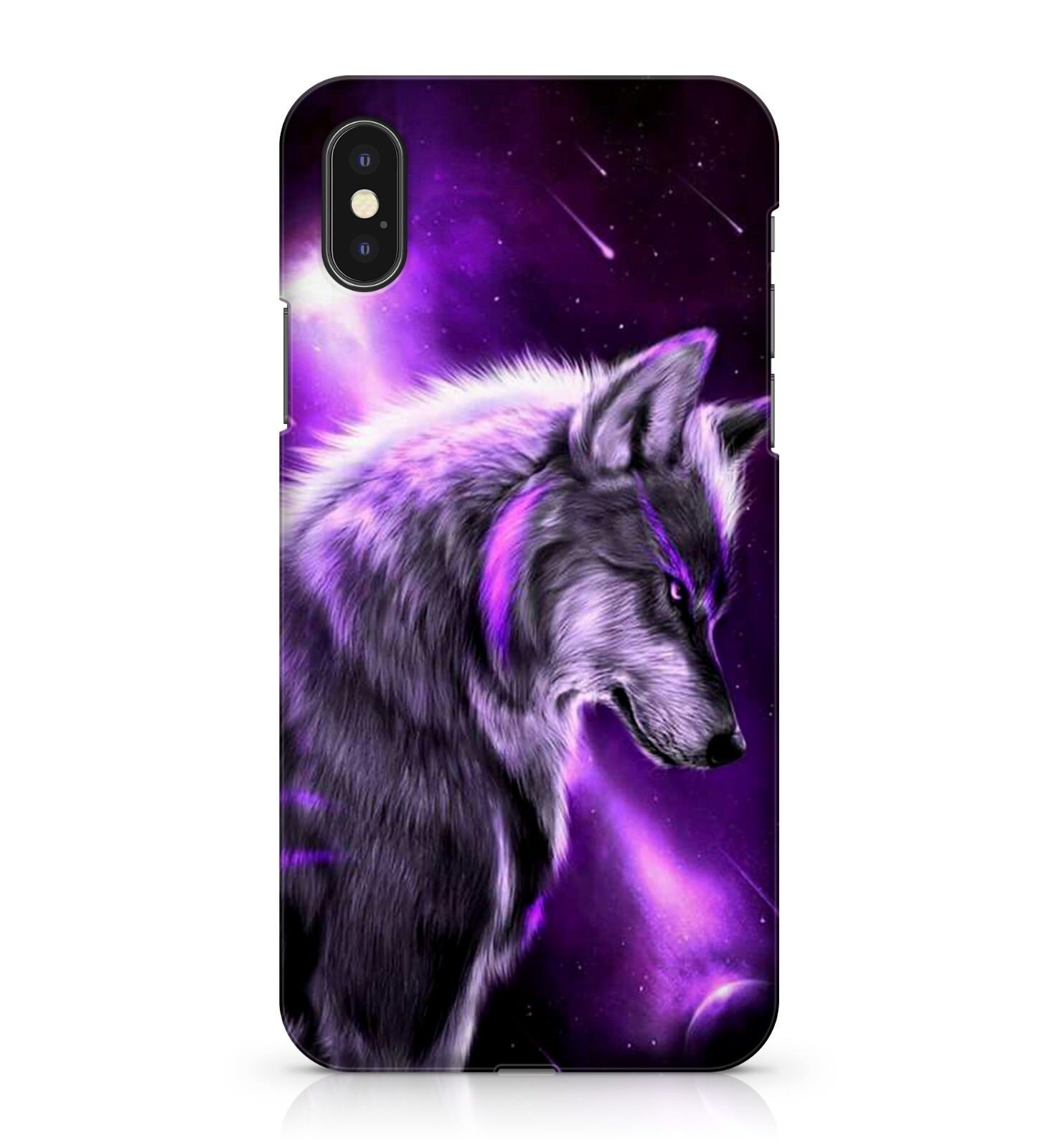 promo code b31b7 81a83 Details about Fury Space Wolf Purple Galaxy Shooting Nova Stars Night  Animal Phone Case Cover