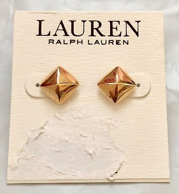 """NWT Ralph Lauren Gold Electroplated Square Pyramid Earrings Stud Post Back 1/2"""""""