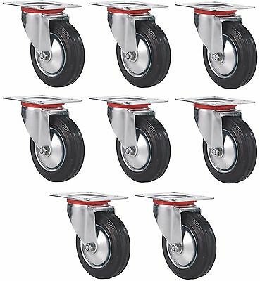 Set Of 8 Plate Casters With 3 Rubber Wheels Base All Swivel