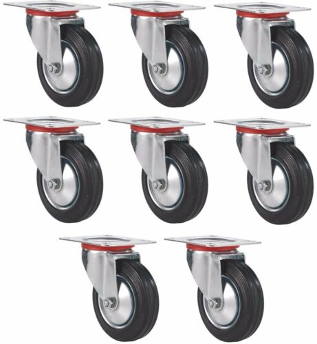 "Set of 8 Plate Casters with 3"" Rubber Wheels Base All Swivel"