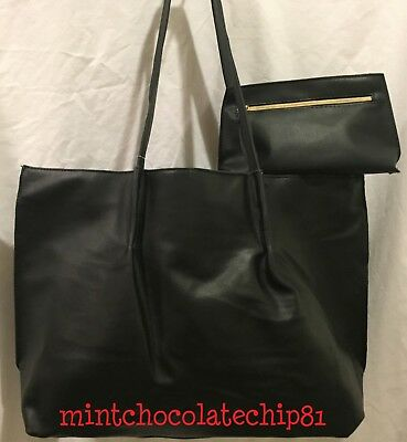 SAKS FIFTH AVENUE Black Faux Leather Shopping Tote Purse + makeup bag NWT