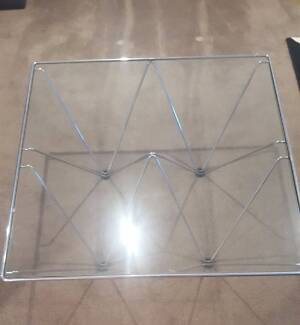 Glass and chrome coffee table 800mm square