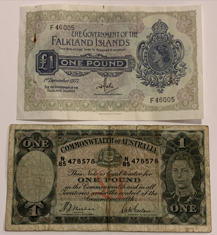 1949 £1 Commonwealth of Australia & 1977 £1 Falkland Islands, 2 Banknotes