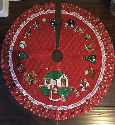 "VTG 1950s 60s QUILTED CHRISTMAS TREE SKIRT SANTA NOAH'S ARK 42"" LACE TRIM"