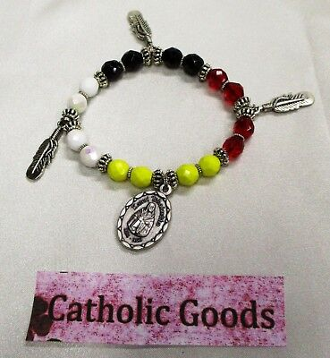St Saint Kateri with the 4 Directions Colors Glass Beads + Feathers + Medal